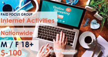 Online focus group about Internet Activities - $100