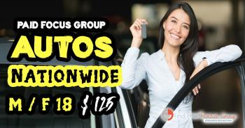 Nationwide Online focus group about Autos - $125